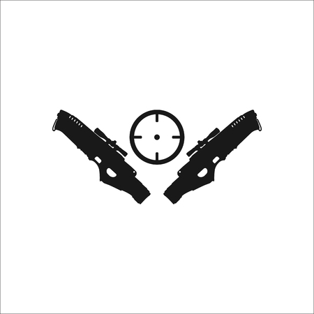 blasters: Two blasters with target symbol sign simple icon on background
