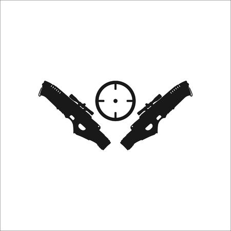 Zwei blasters mit Zielsymbol zeichen Symbol auf den Hintergrund Vektorgrafik