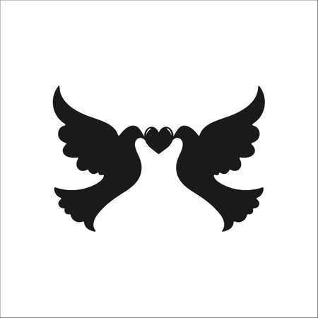 Two dove love heart symbol sign simple icon on background