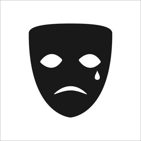 canvass: Drama sad mask symbol sign simple icon on background Illustration