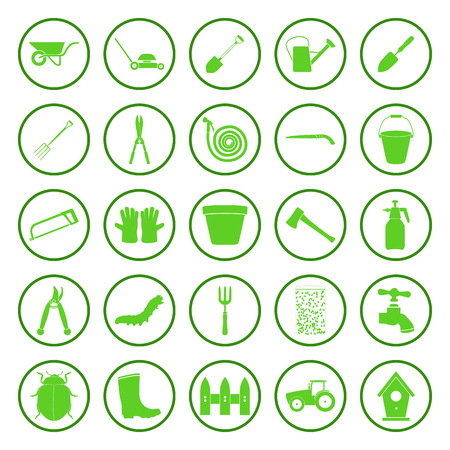 watering hose: Gardening and farming green simple vector icons set