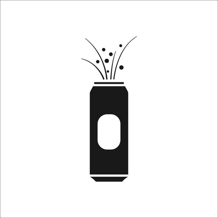 Beer can opened explosion symbol sign simple icon on background Çizim