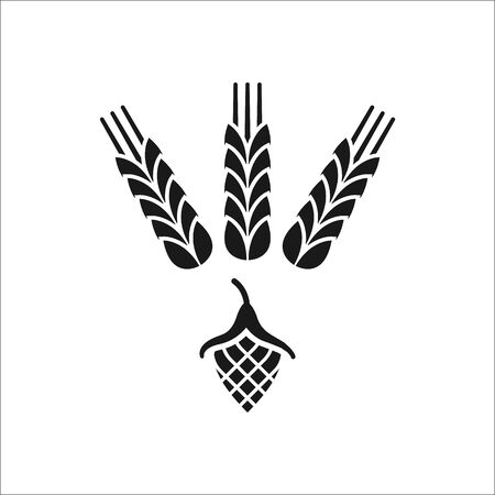 Hop and wheat beer symbol sign simple icon on background