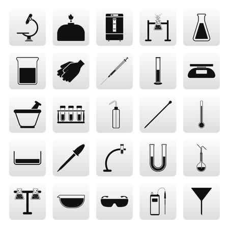 la science chimique matériel de laboratoire simple icône situé sur fond