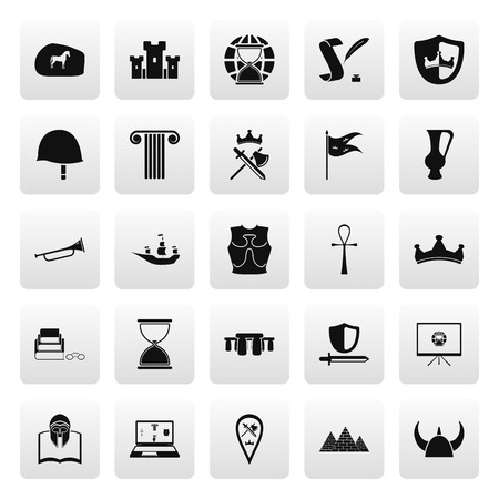 age old: History and culture symbols simple icon set on background