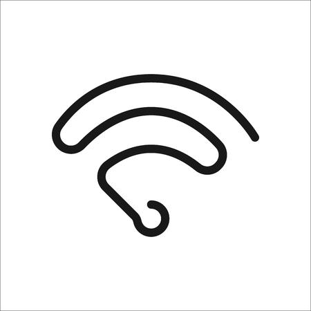 Wireless symbol sign one line icon on background Illustration