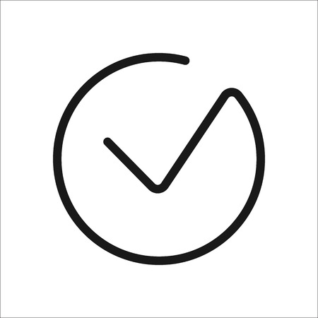 ok: Check mark or Tick Okay Accept Valid symbol sign one line icon on background