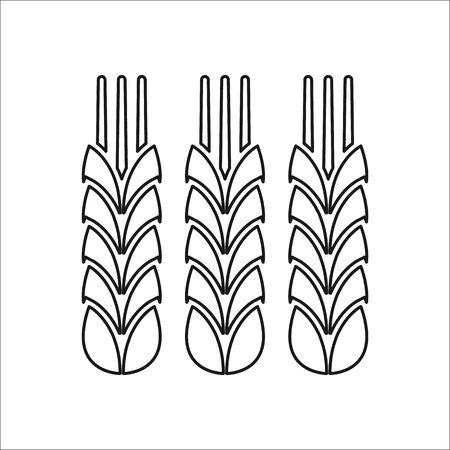 artisan: Three Wheat symbol sign one line icon on background Illustration