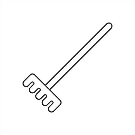 tine: Garden Rake symbol sign one line icon on background