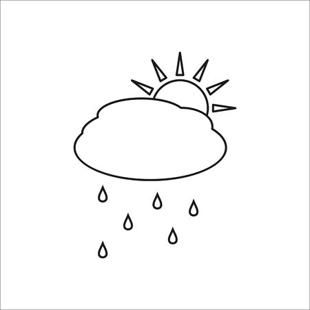 Sun with rain and cloud weather symbol sign one line icon on background Illustration