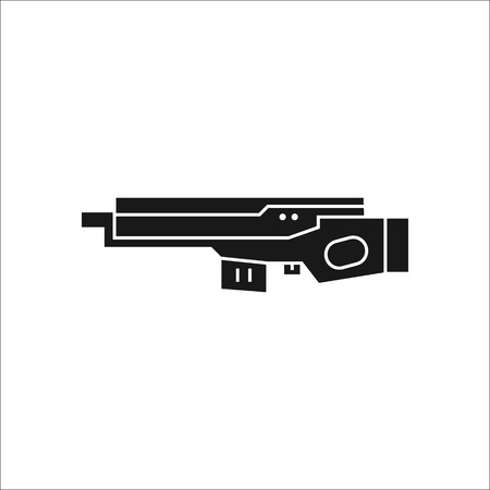 weaponry: Futuristic large laser gun rifle symbol sign silhouette icon on background