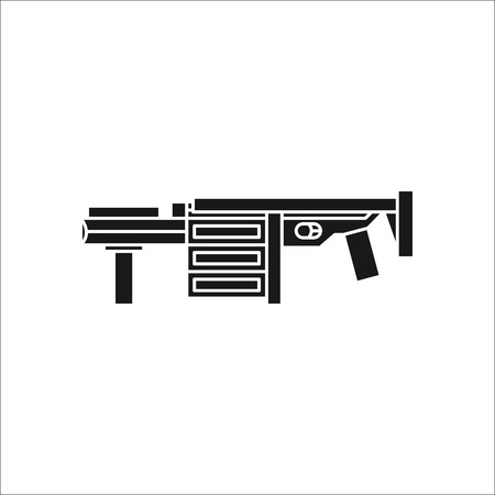 launcher: Grenade launcher gun symbol sign silhouette icon on background Illustration