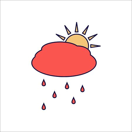 Sun with rain and cloud weather symbol sign flat icon on background