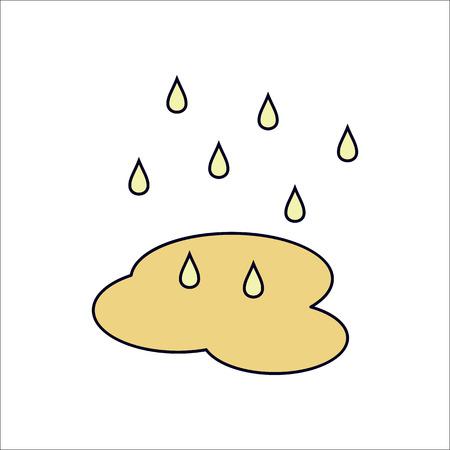 rain drop: Water drop or rain puddle symbol flat icon on background Illustration