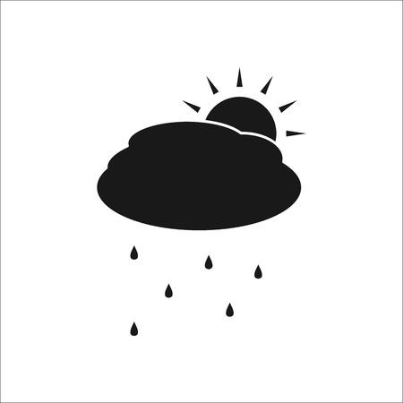 squall: Sun with rain and cloud weather symbol sign silhouette icon on background