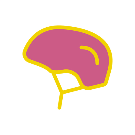 Bike bicycle helmet symbol sign flat icon on background Illustration