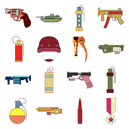 cold war: Military and weapon 16 flat icon set on background
