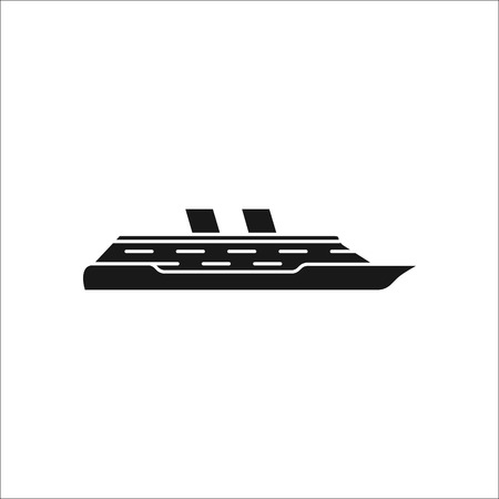 Cruise ship profile sign silhouette symbol icon on background