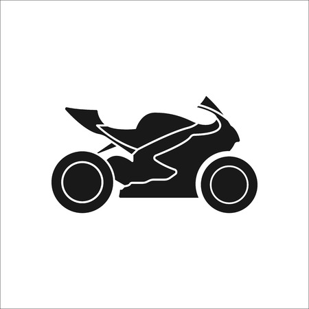 Sport motorcycle profile sign silhouette symbol icon on background Illustration