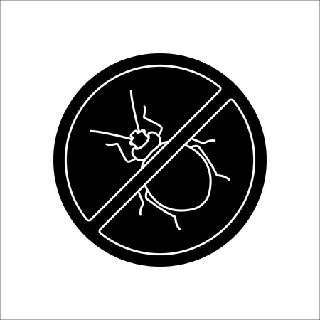 lyme disease: Bug stop warning sign silhouette symbol icon on background