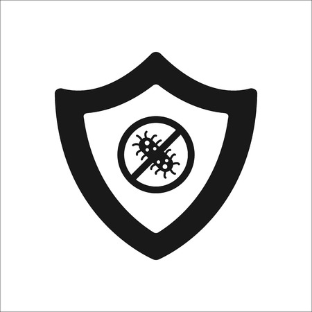 backdoor: Bug shield security sign silhouette symbol icon on background