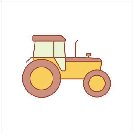agronomics: Tractor flat sign symbol icon on background