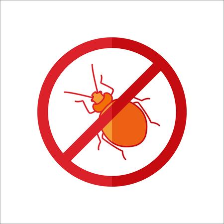 lyme disease: Bug stop warning sign flat sign symbol icon on background Illustration
