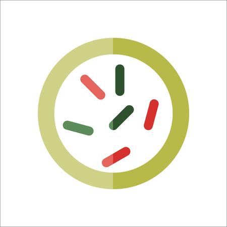 Biology microorganisms, germs and bacilli colony flat sign symbol icon on background