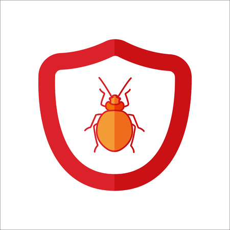 malicious software: Bug shield security flat sign symbol icon on background