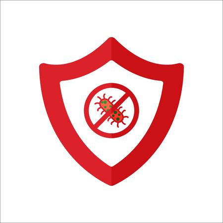 malicious software: Bug shield antivirus security flat sign symbol icon on background Illustration