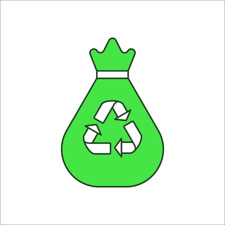 Trash bag sign flat symbol icon on background