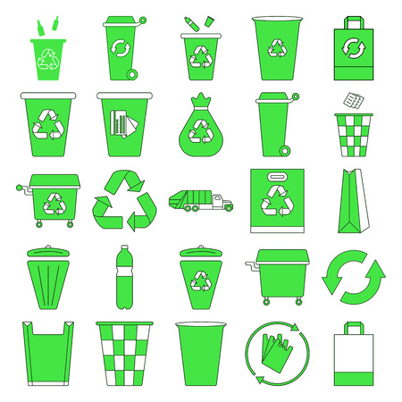 segregate: Recycle waste management trash Different colored recycle bins flat icon set background