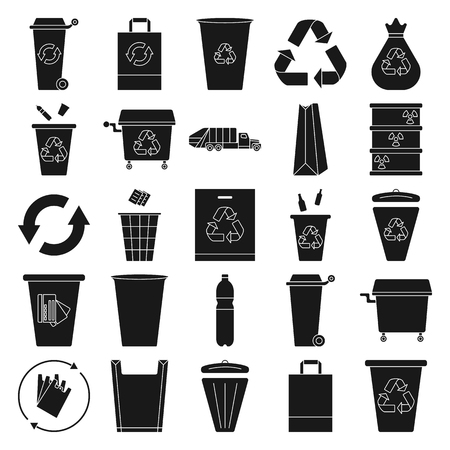 swill: Recycle waste management trash icon set on background