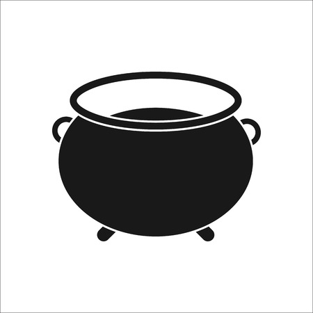 lowbrow: Witch halloween cauldron sign silhouette symbol icon on background