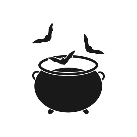 lowbrow: Witch halloween cauldron with bats sign silhouette symbol icon on background