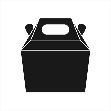 carrying box: Fast food carrying box container symbol sign silhouette icon on background
