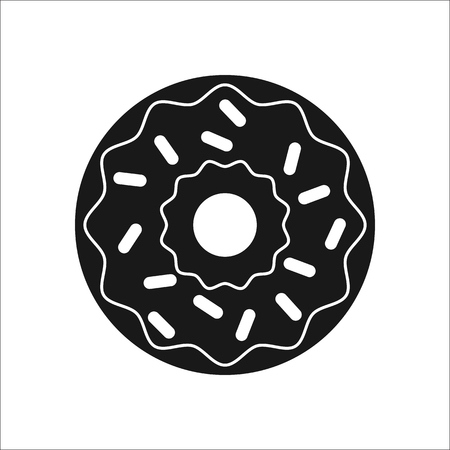 Donut symbol sign silhouette icon on background