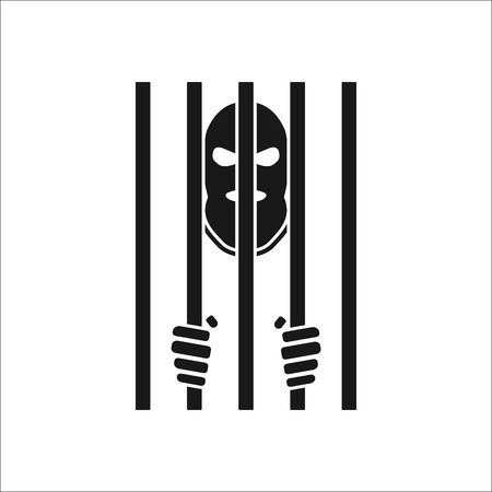 terrify: Terrorist in mask behind bars symbol sign silhouette icon on background Illustration
