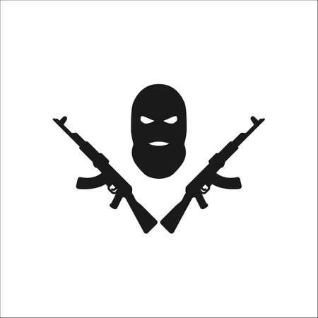 violación: Terrorista máscara pasamontañas icono de símbolo ak signo de la silueta en el fondo