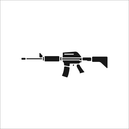 assault: Assault rifle symbol sign silhouette icon on background
