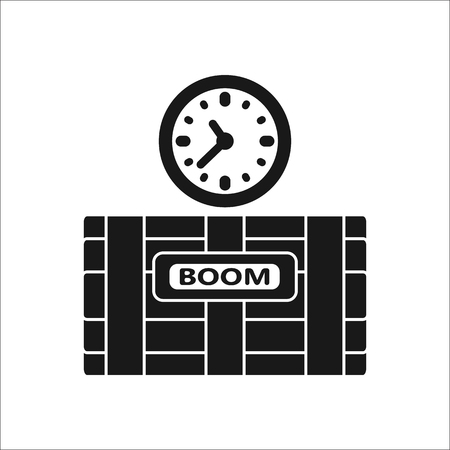 defuse: Dynamite bomb with digital clock boom sign silhouette icon on background