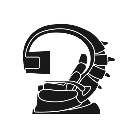 computer simulation: Virtual reality chair sign silhouette icon on background