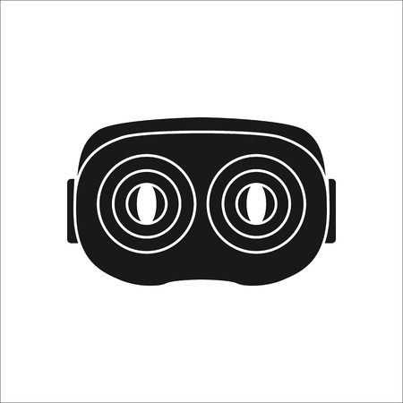 garniture: Virtual reality VR headset back sign silhouette icon on background