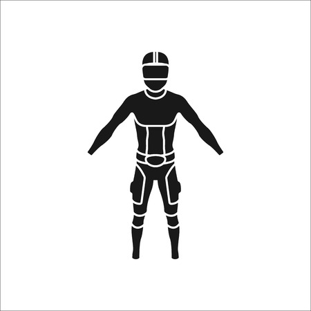 Virtual reality technology wear sign silhouette icon on background