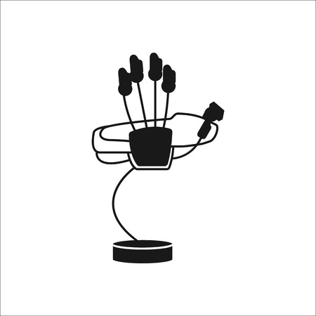 engrossed: Virtual reality hand gadget glove sign silhouette icon on background