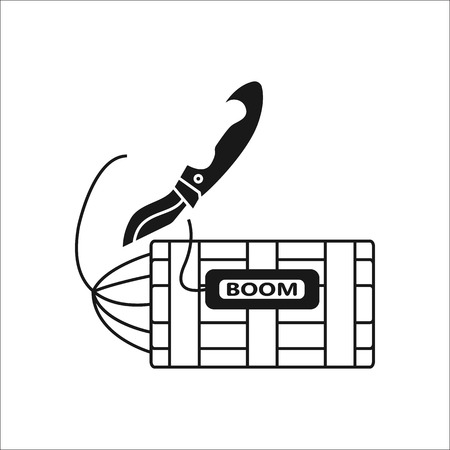 defuse: Knife defusing dynamite bomb silhouette line icon on background Illustration