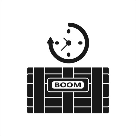 sabotage: Dynamite bomb with digital clock boom sign silhouette icon on background