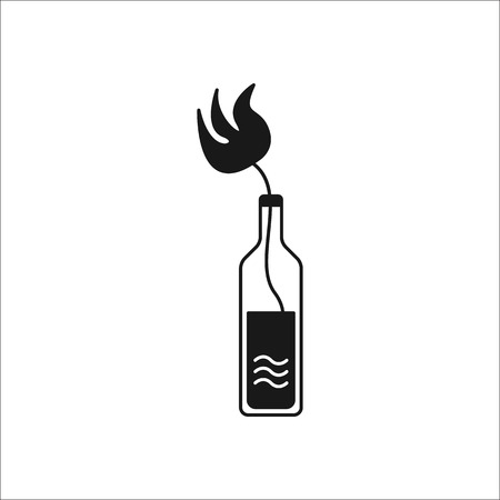 Molotov cocktail icon. Symbol of protest sign silhouette icon on background Illustration