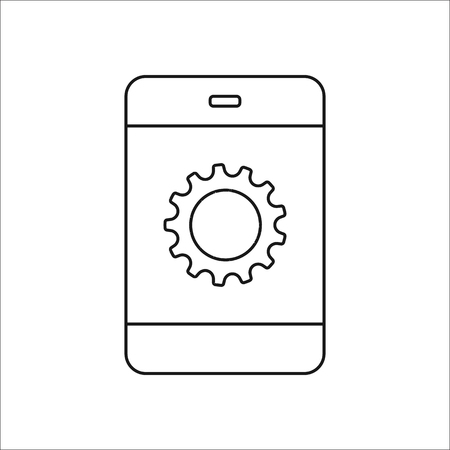 preferences: Gear icon. Options, preferences, generation and work concept symbol on phone sign line icon on background Illustration