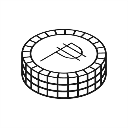 peso: Peso coins symbol sign line icon on background Illustration